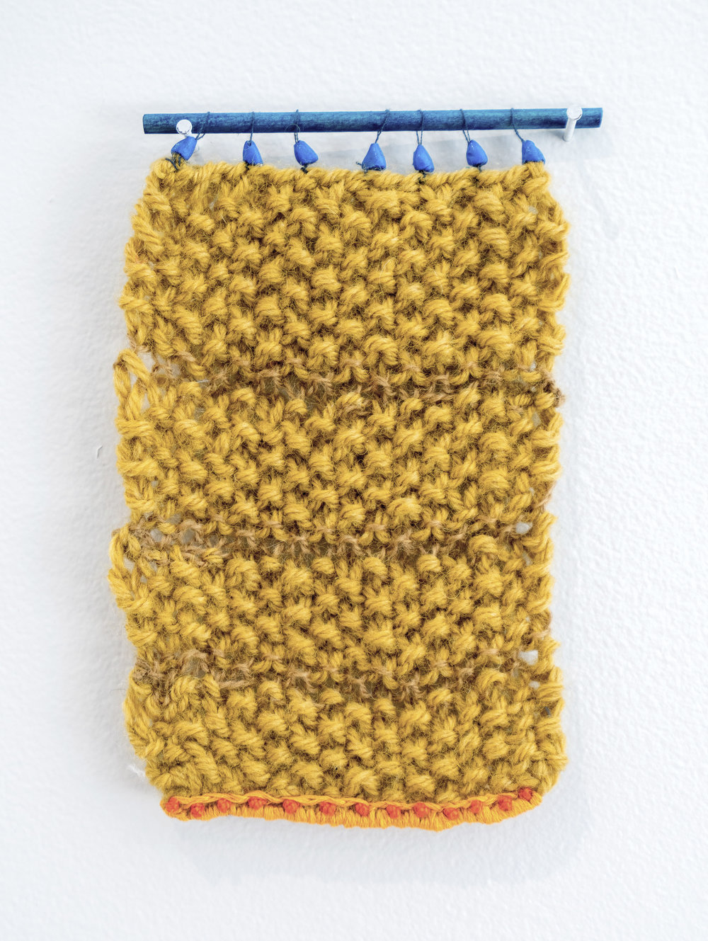 "Tapestry I     2016  Wool yarn, cotton thread, wood, dye, modeling clay.  3"" x 5"""