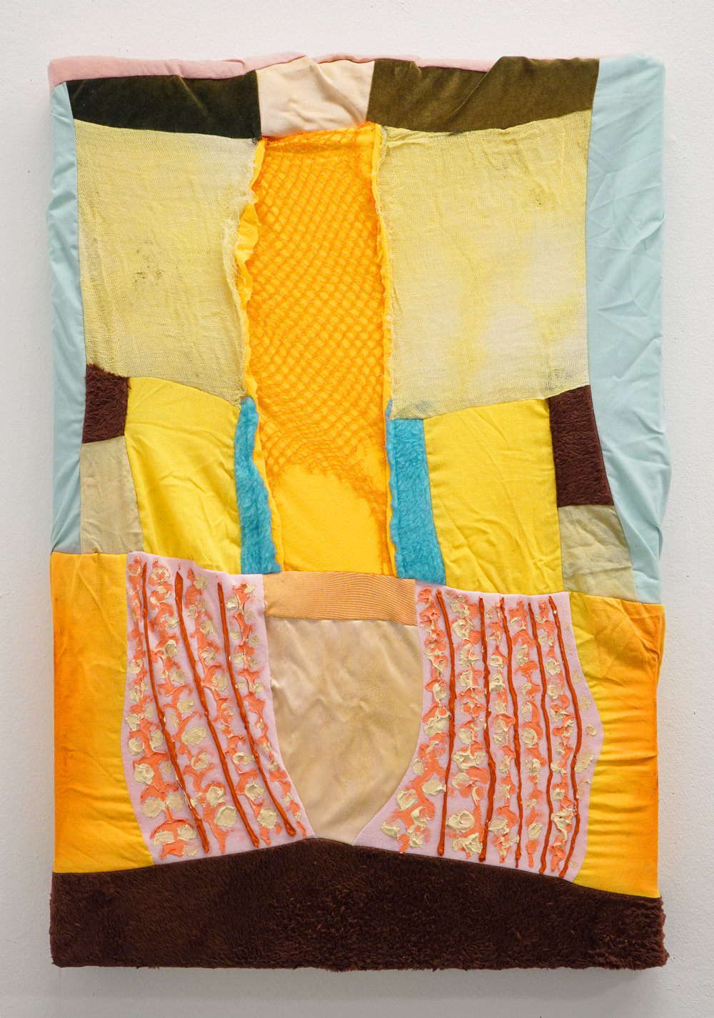 "Clamor   2017  Turmeric, green tea, onion, cotton fabric, cotton gauze, faux fur, plastic mesh, satin, velvet, acrylic paint.  25 1/2"" x 18 1/2"""