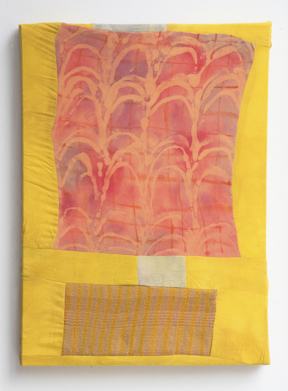 "Seedling Conveyor   2017  Turmeric, matcha green tea, black tea, fabric paint, resist, cotton fabric, hand woven wool.  18 1/2"" x 25 1/2"""