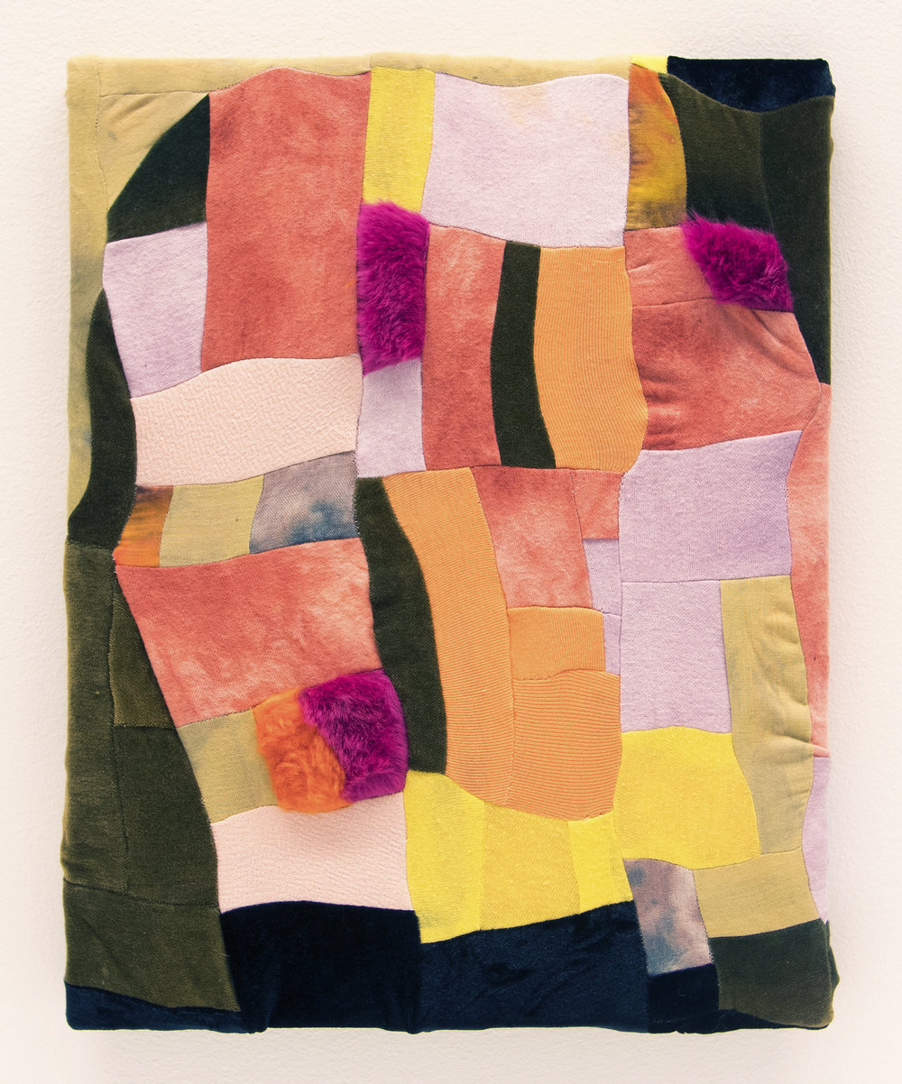 "Blush Clift   2017  Dye, green tea, madder, food coloring, cotton fabric, velvet, faux fur  11"" x 14"""