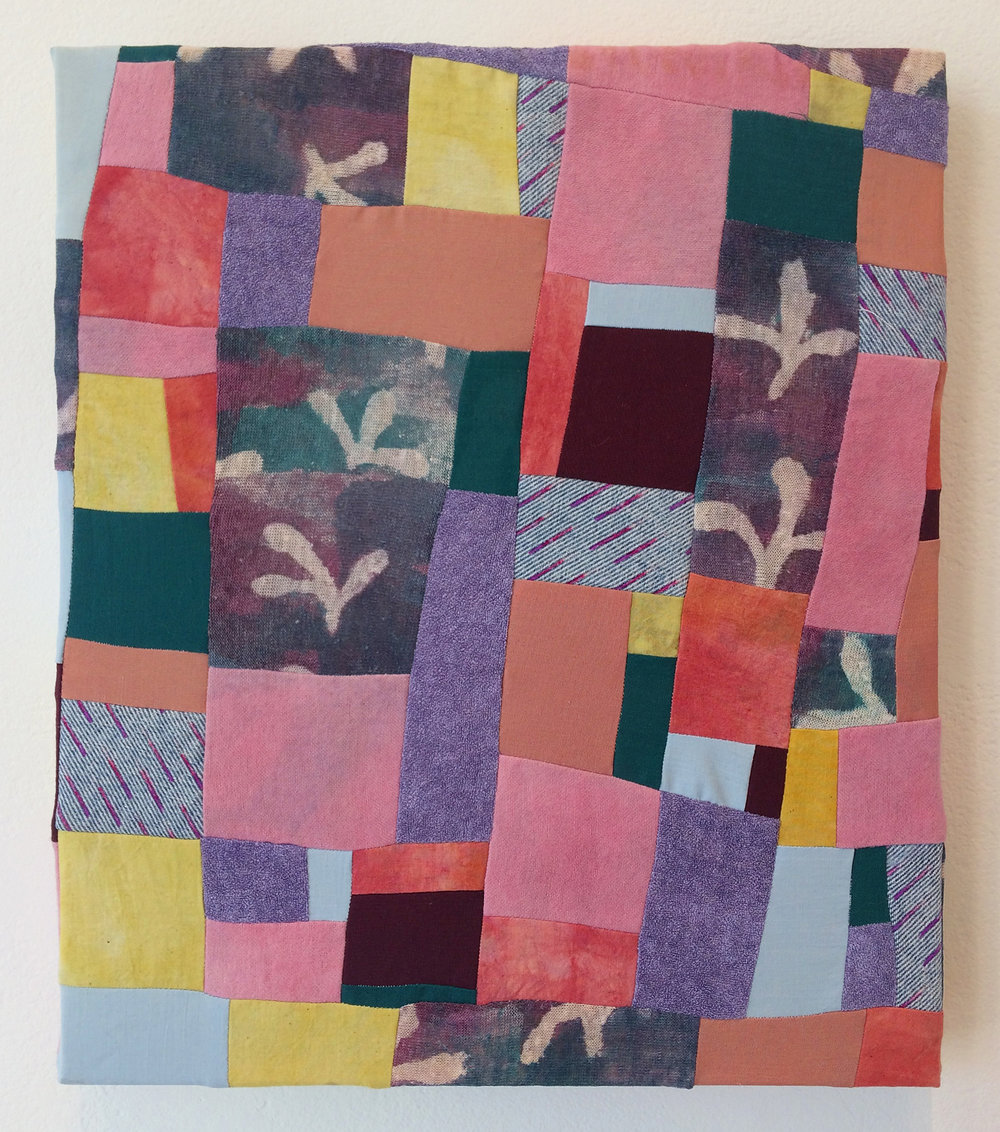 "2017, Winter Pruning, Cotton fabric, turmeric, cochineal, madder, dye, acrylic paint, resist, synthetic fabric, 12"" x 14"""