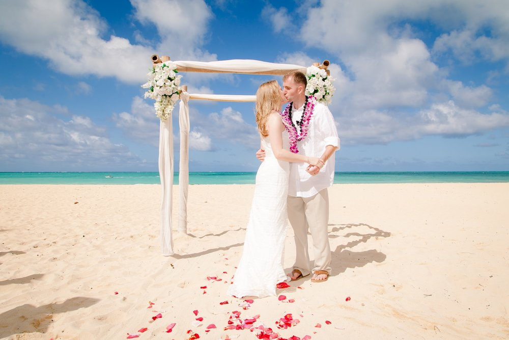Beach wedding at Waimanalo Beach