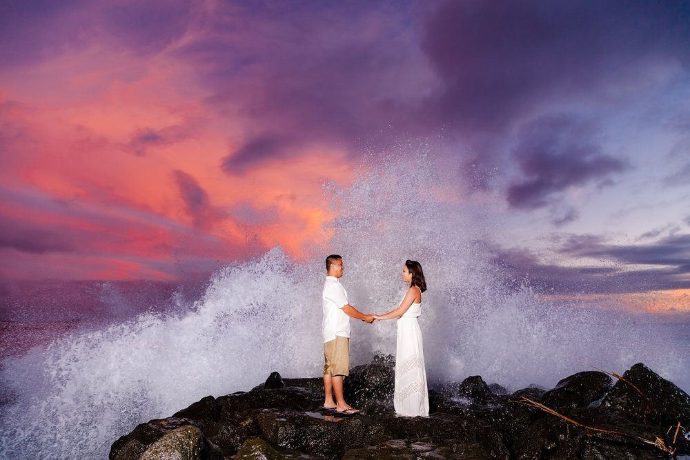 epic honeymoon beach sunset portrait