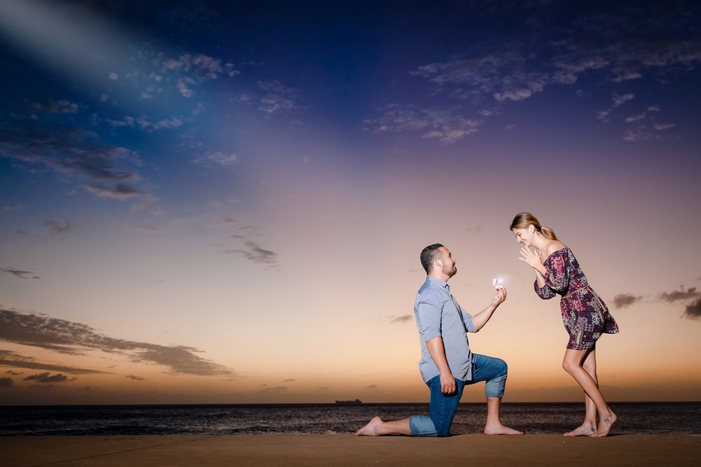 sunset surprise proposal photographer oahu