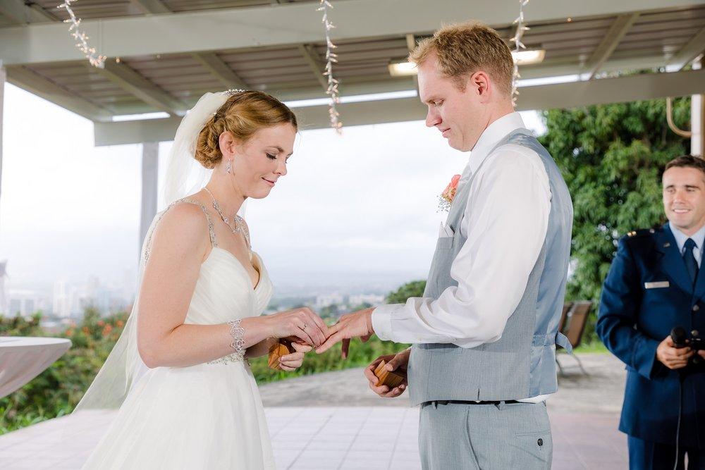 wedding ring exchange bride groom ceremony oahu
