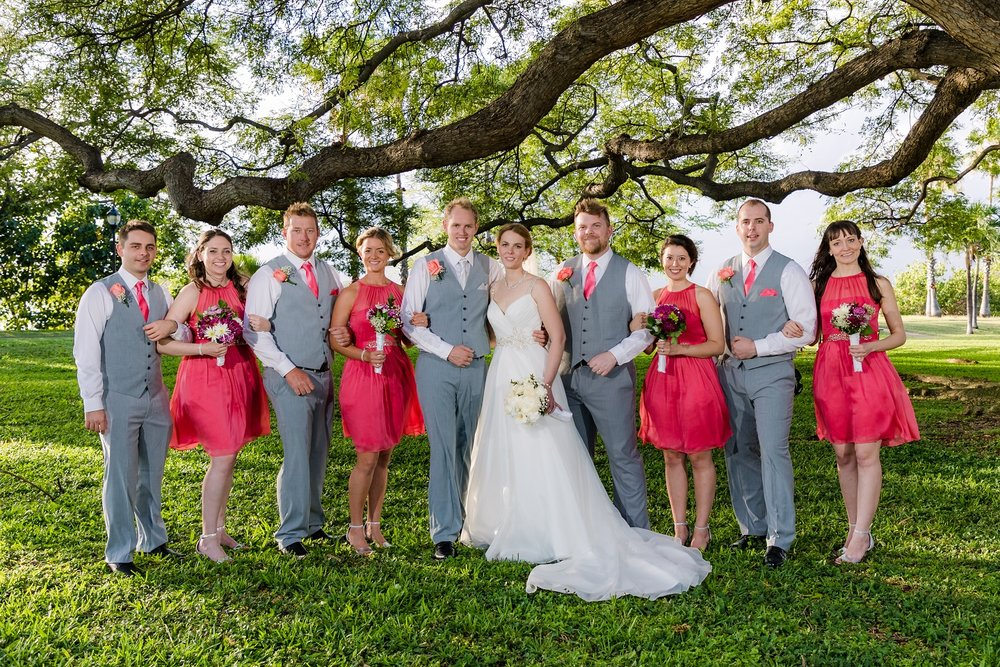 bridal party portrait honolulu hawaii