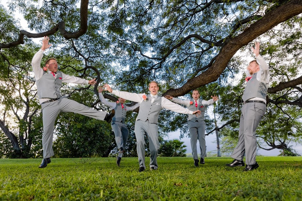 flying groomsmen portrait wedding photos hawaii