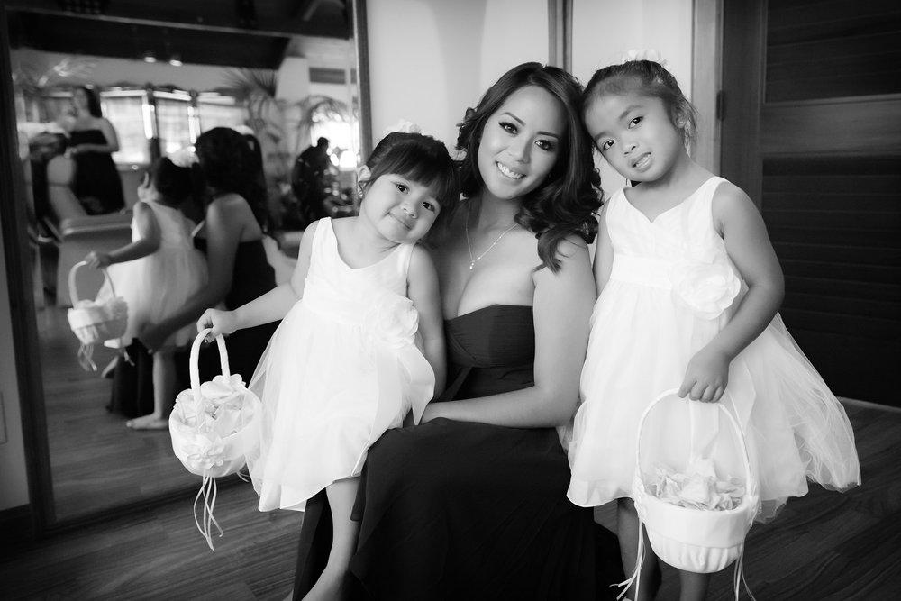 flower girls wedding getting ready
