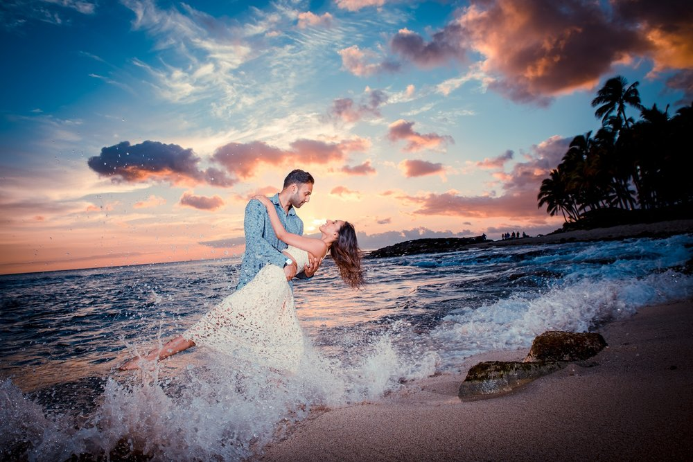 sunset engagement photo session ko olina oahu