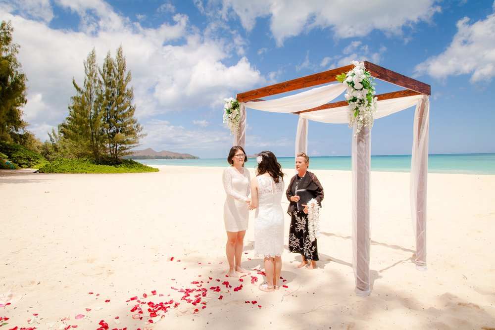 Private & intimate beach ceremony, primarily natural light with a hint of flash to lighten the shadows under eyes/necks