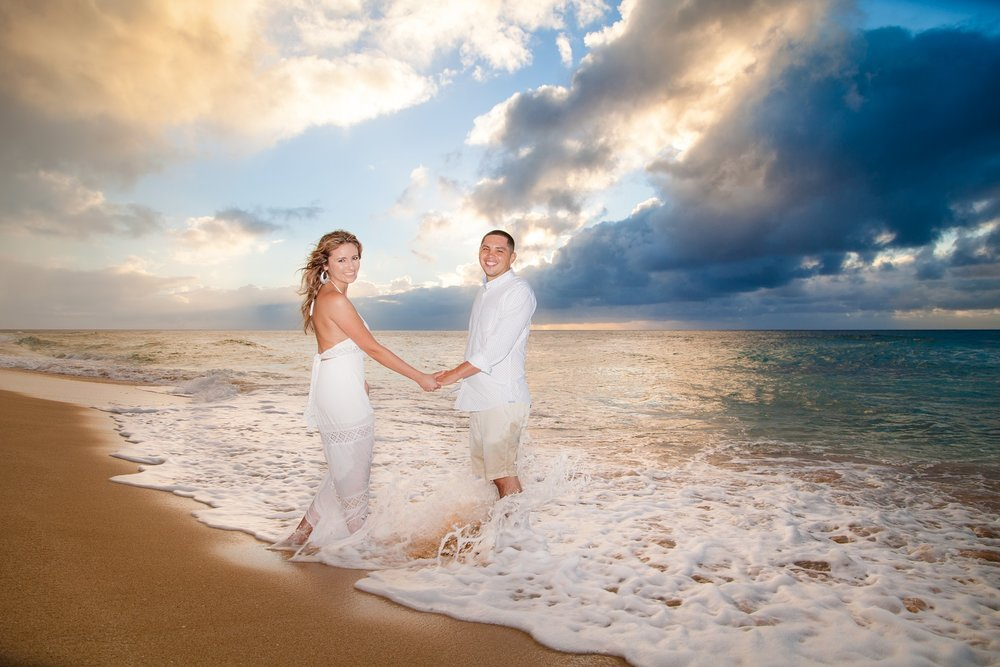 Sunset engagement on Oahu's North Shore