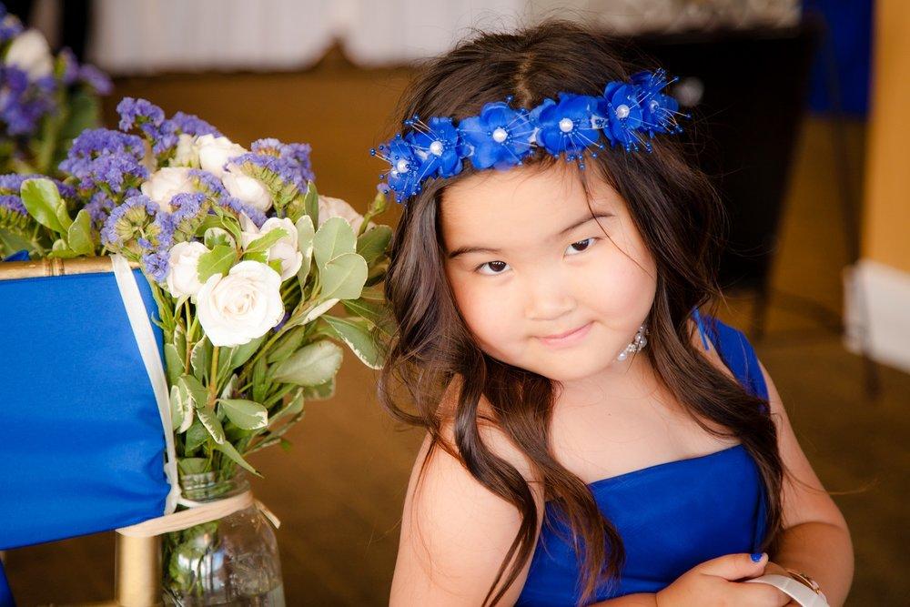 wedding flower girl in blue