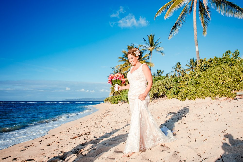 bride in dress beach wedding oahu hawaii