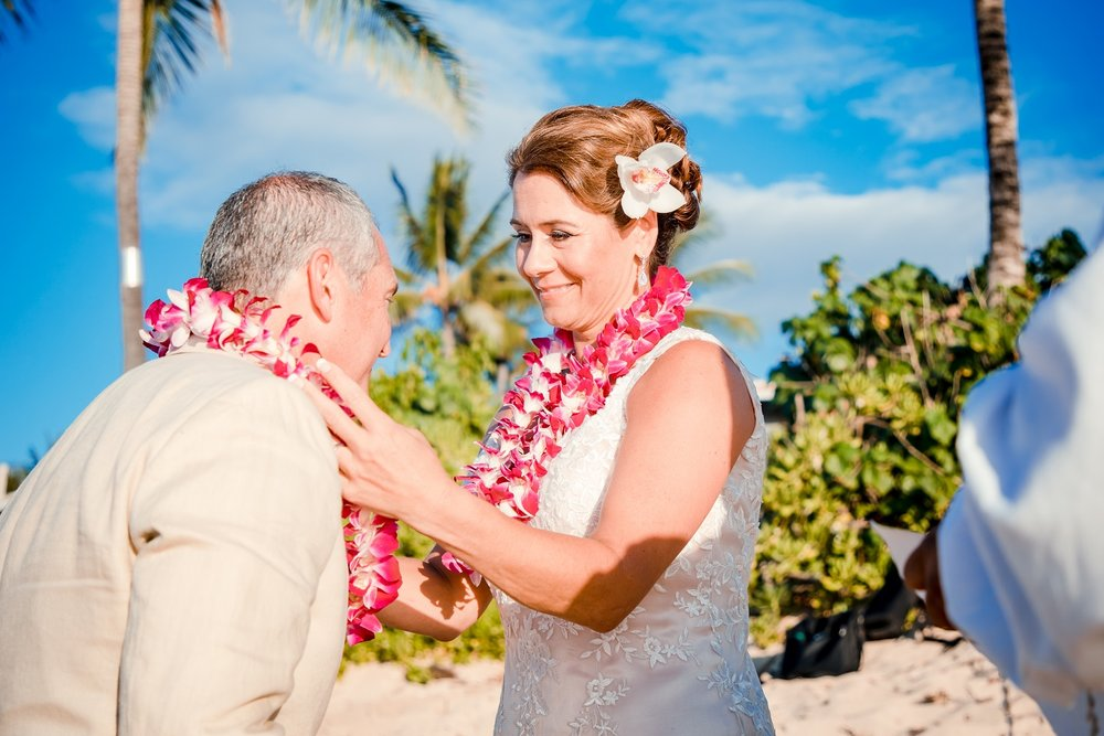 wedding lei exchange bride and groom hawaii
