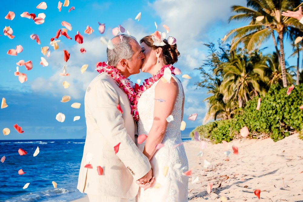 flower petal toss wedding kiss