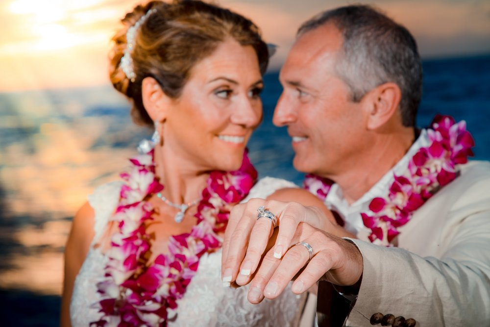 maui beach wedding at sunset