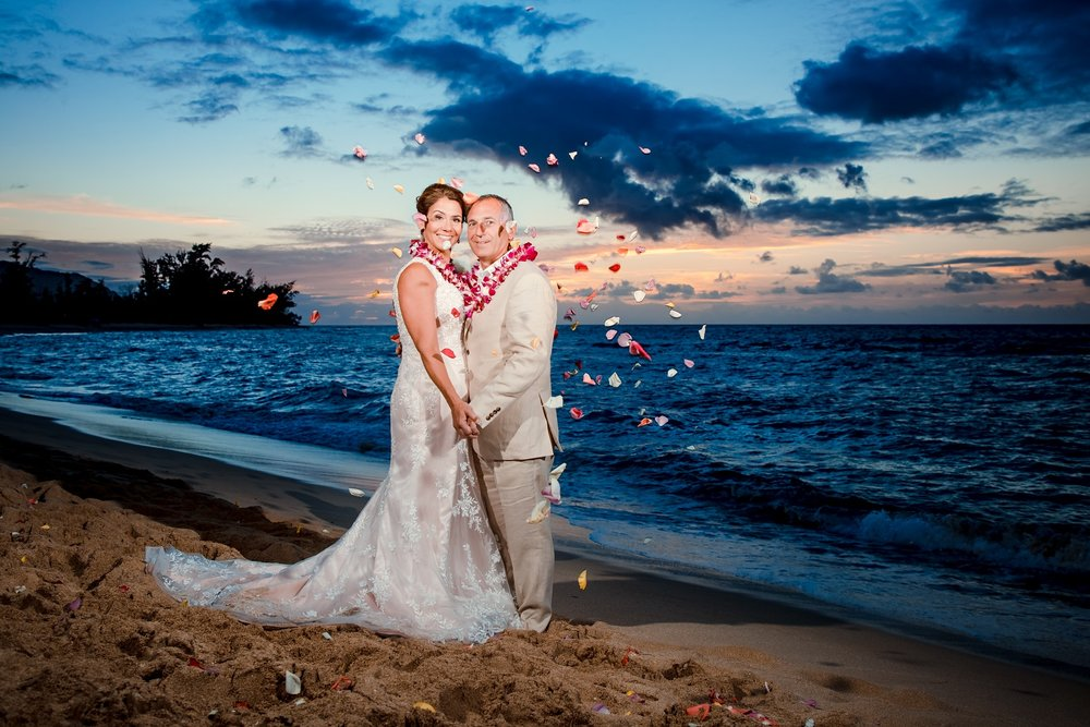 wedding portrait bride & groom beach at sunset hawaii