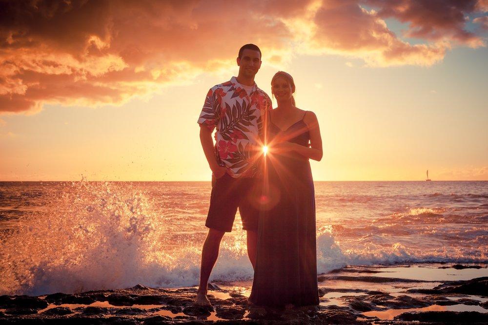 sunset maternity beach portrait
