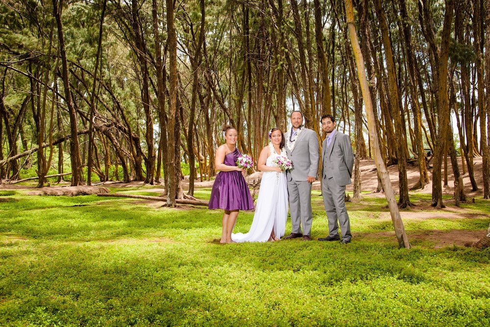 bridal party bride and groom in forest