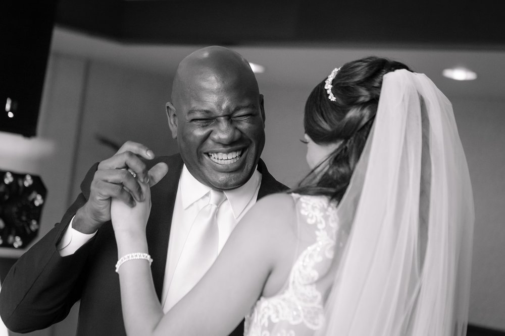 father daughter wedding dance black and white