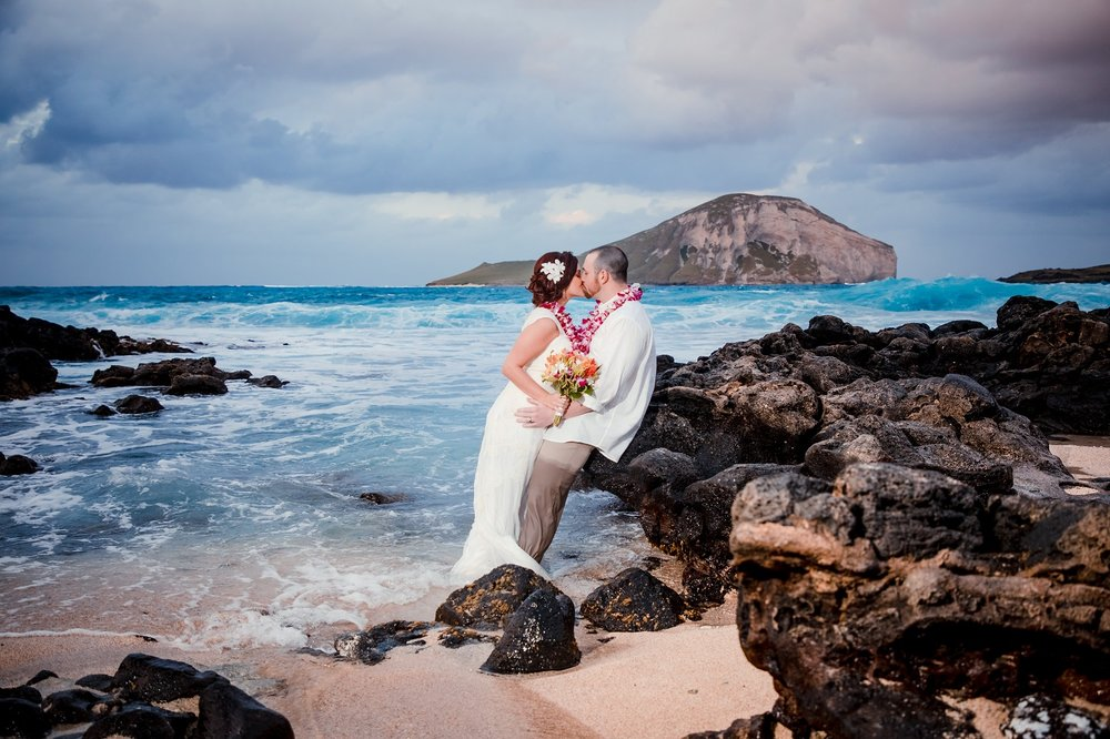 Beach wedding at Waimanalo Beach