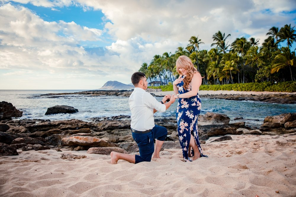 Sunset surprise proposal at Secret Beach, Ko Olina