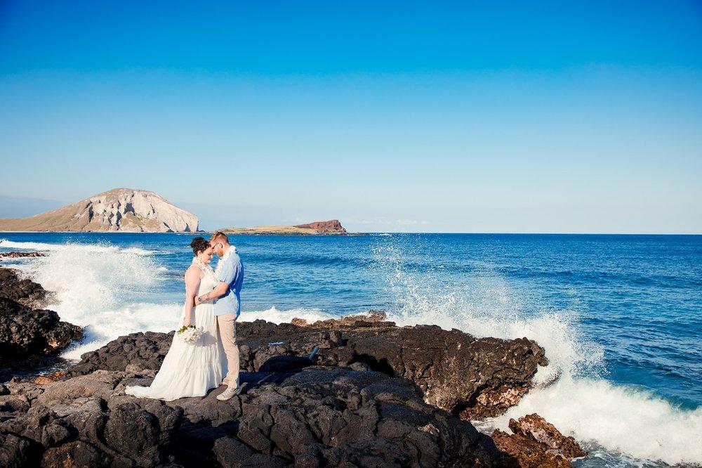 Makapu'u Beach wedding portrait