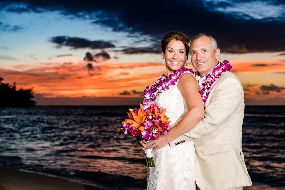 Oahu's North Shore sunset wedding ceremony