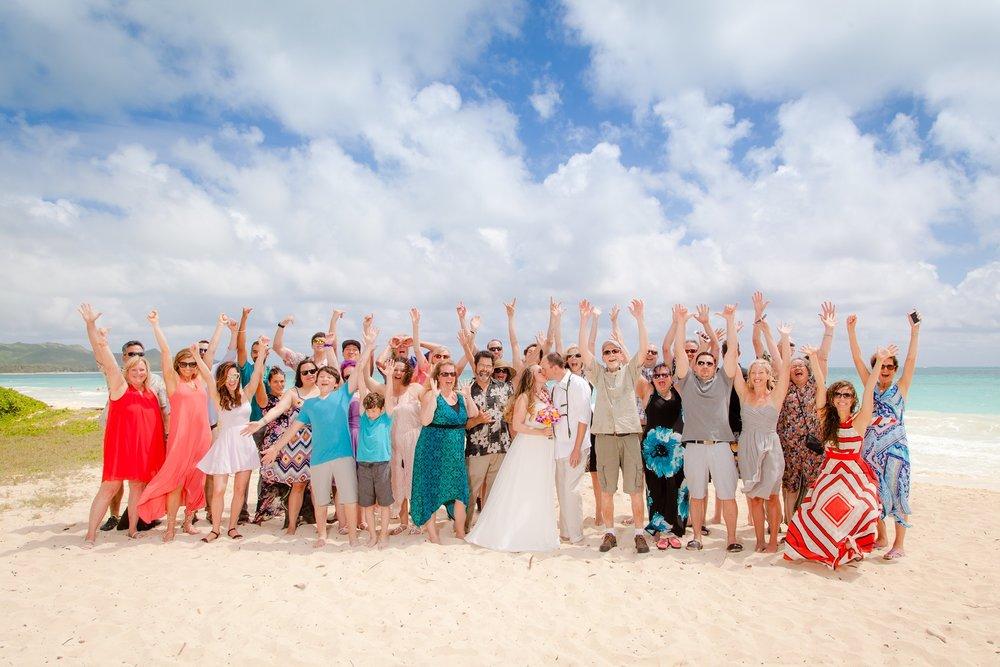 Family & friends celebrating at Kailua Beach