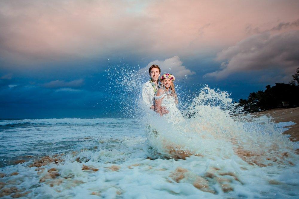 North Shore Sunset wedding portrait