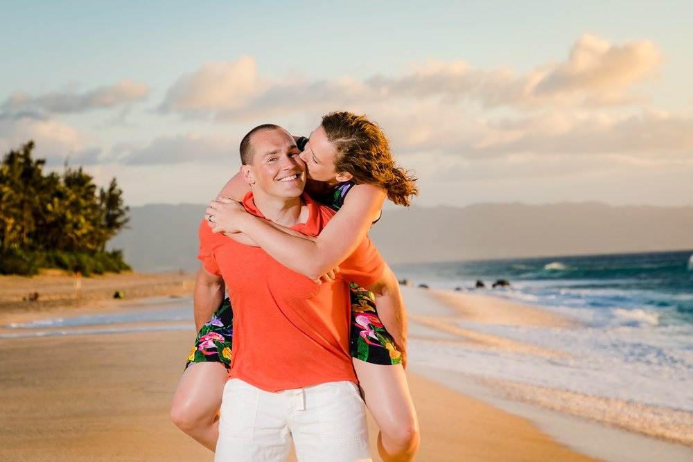 romantic couple portrait on beach sunset north short oahu