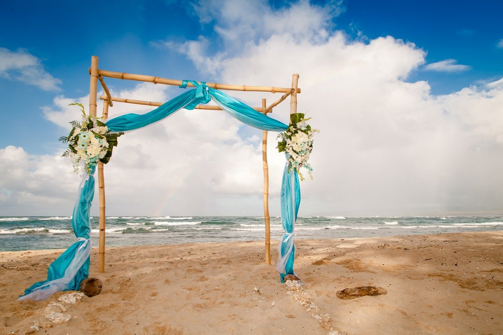 wedding arbor ceremony beach north shore oahu