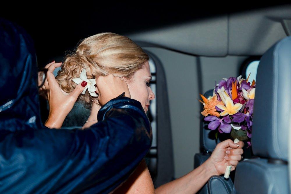 bride getting ready in van in storm