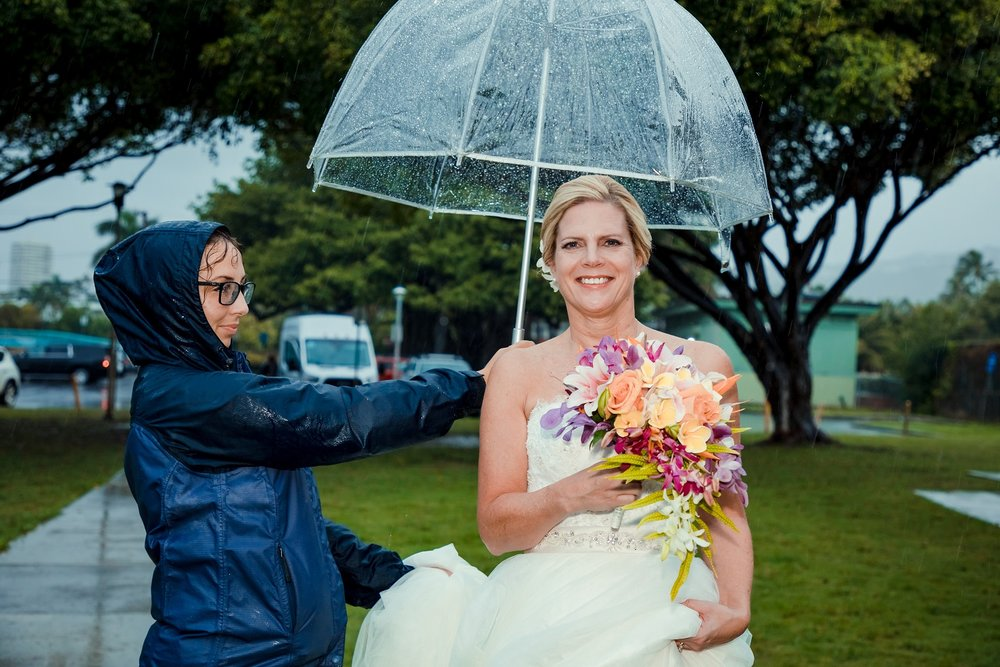 bride in stormy rain weather oahu