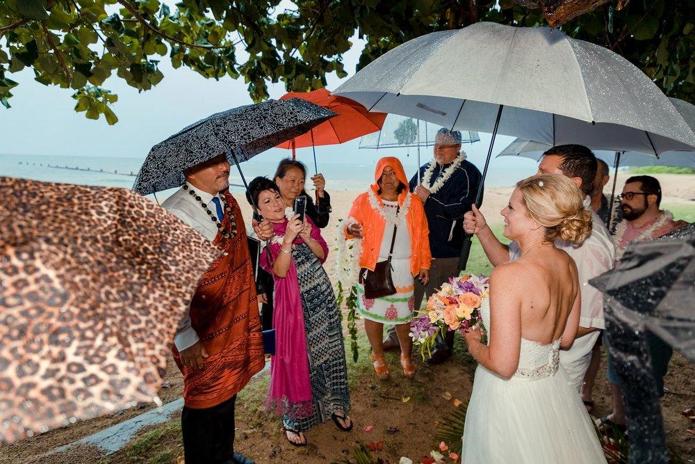 rainy stormy wedding day at beach