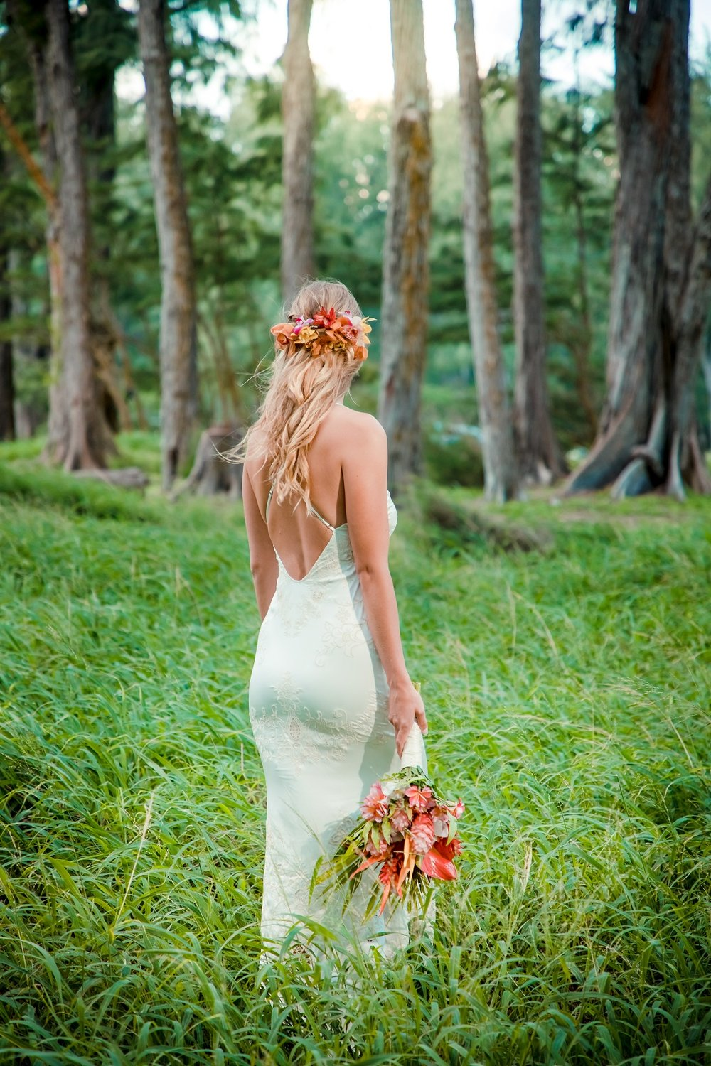 maui wedding portrait of bride in forest