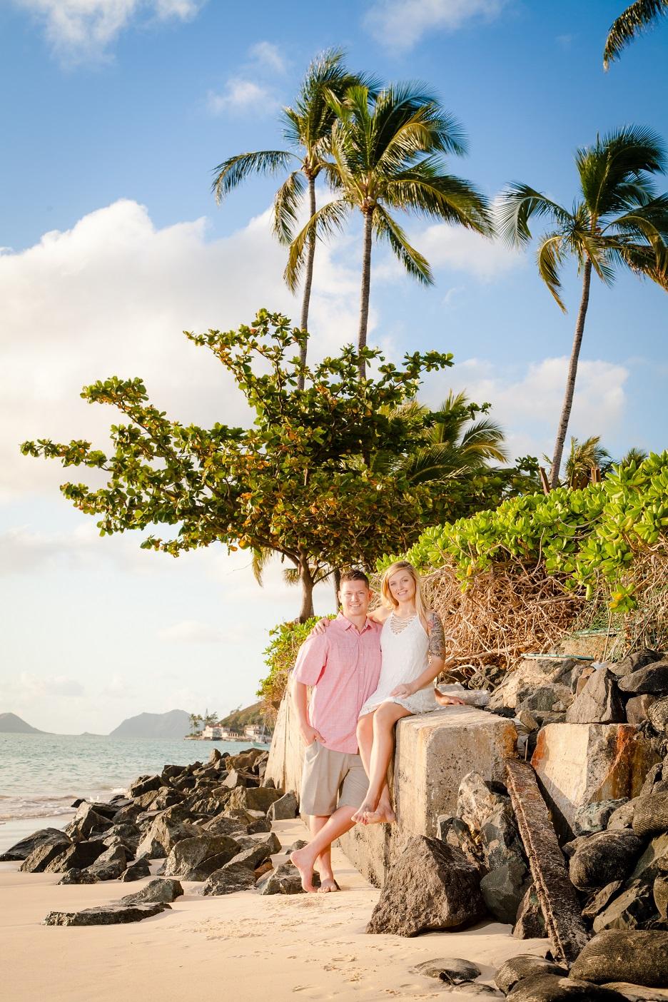 romantic sunrise couples photo portrait lanikai kailua oahu