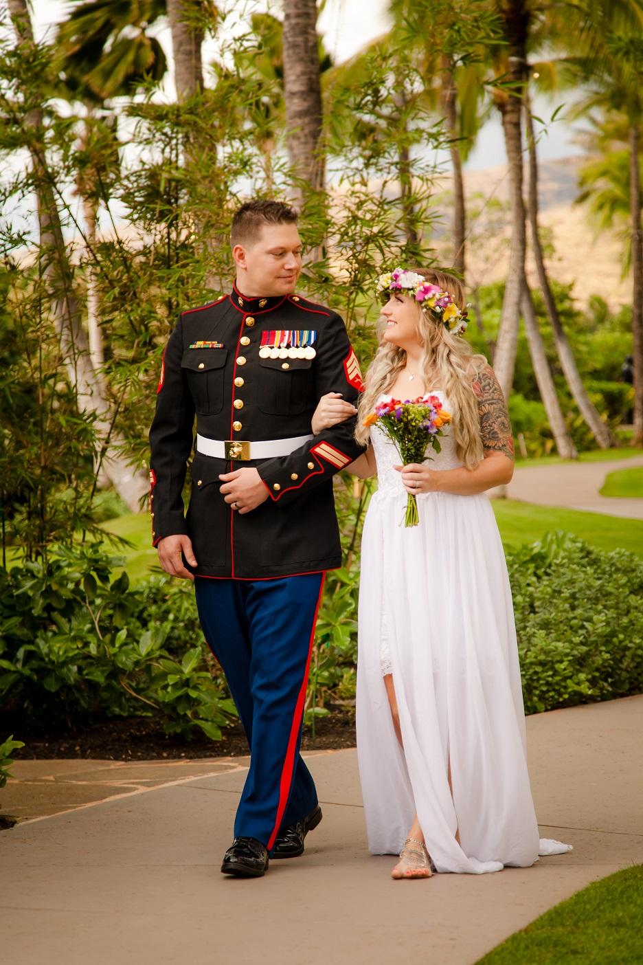 post wedding portrait bride and groom oahu