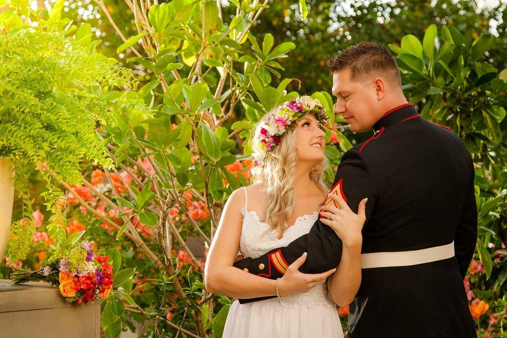 bride and groom wedding portrait in garden four seasons resort oahu