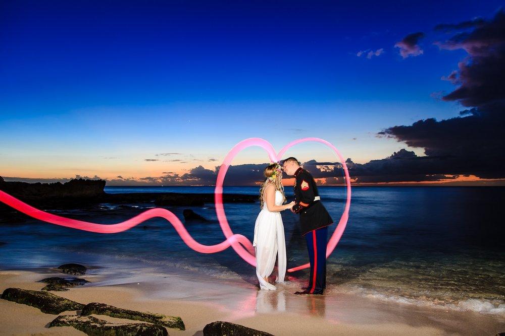 bride and groom sunset beach ocean portrait
