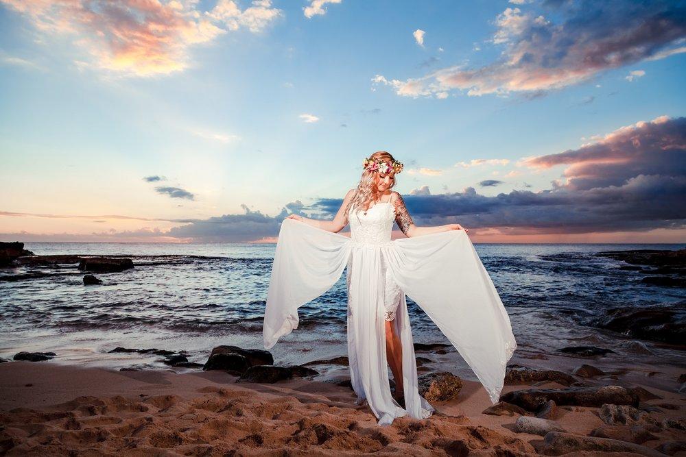 bride wedding day dress portrait sunset beach oahu