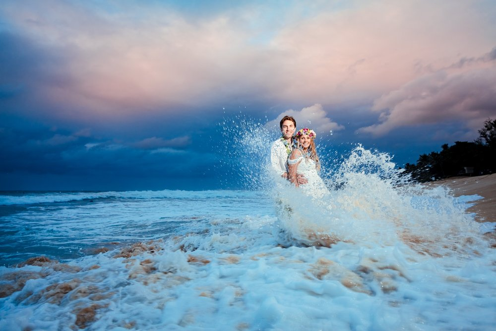 sunset wedding portrait on Oahu north shore