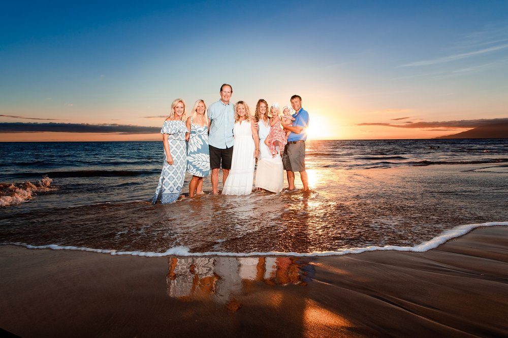 family beach sunset portrait po'olenalena beach maui kehei