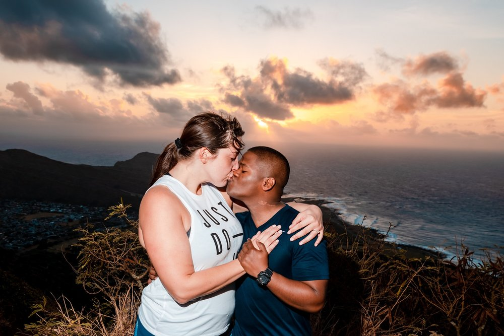 romantic sunrise proposal portrait