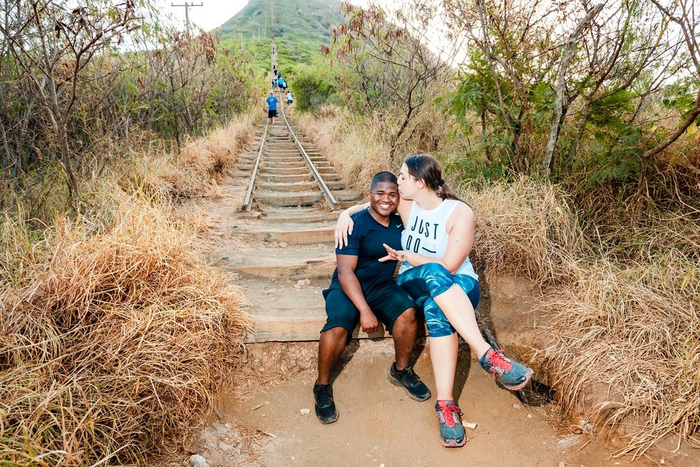 couples portrait after proposal at start of koko crater