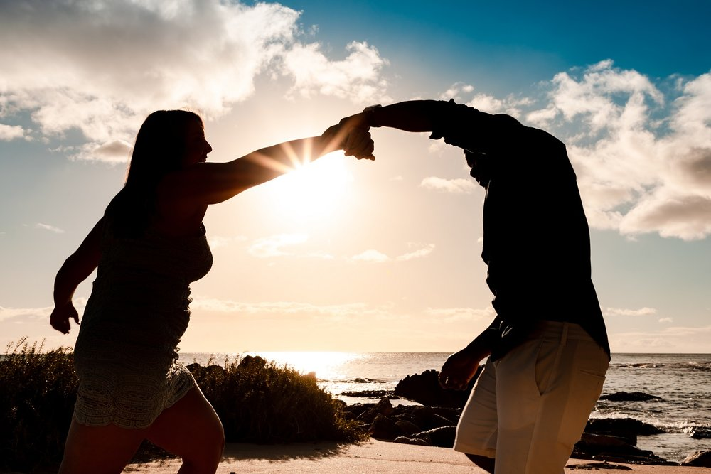 sunkissed couples silhouette romantic dance he proposed