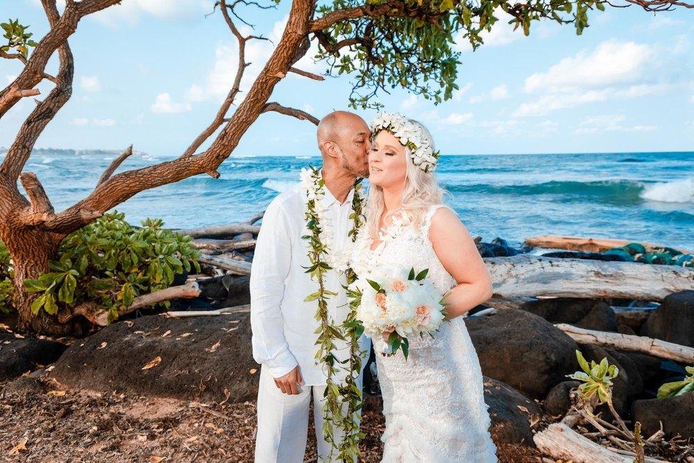 wedding elopement on kauai bride and groom