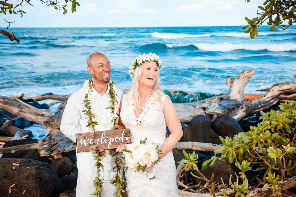we eloped to kauai  hawaii for private beach wedding