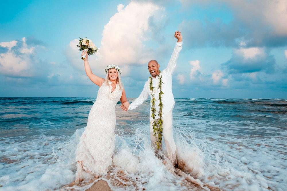 kauai beach wedding elopement beach sunset bride and groom