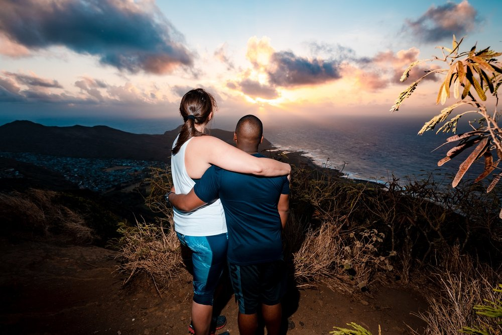 surprise wedding proposal at sunrise oahu photographer